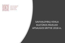 Savivaldybių veikla kultūros paveldo apsaugos srityje 2018 metais